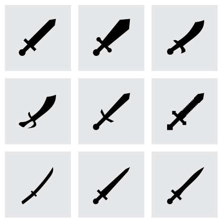 Vector sword icon set on grey background Vector