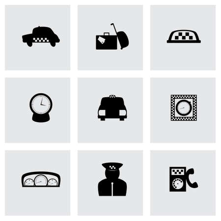 Vector taxi icon set on grey background Vector