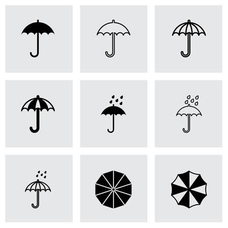 beach closed: Vector umbrella icon set on grey background