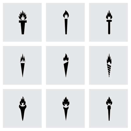 Vector torch icon set on grey background Vector