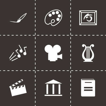 creative arts: Vector black art icons set on black background