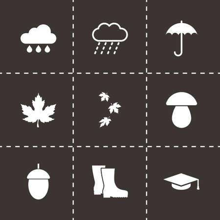 Vector autumn icon set on black background Vector