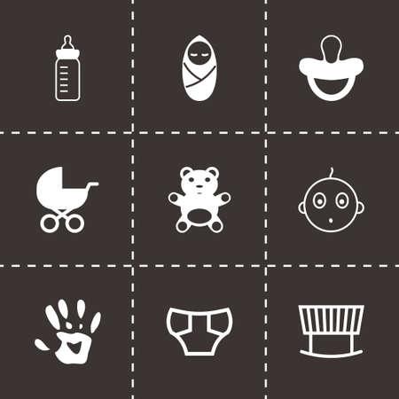 Vector black baby icons set on black background Illustration