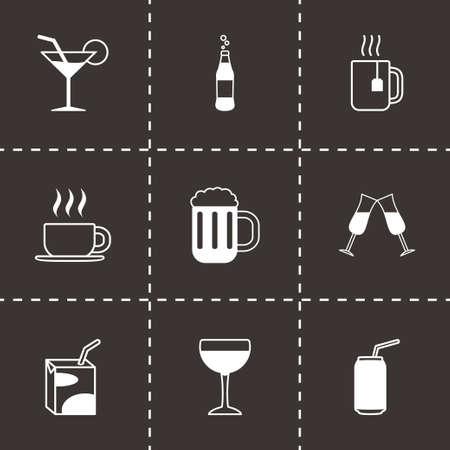 champagne cups: Vector black beverages icons set on black background Illustration
