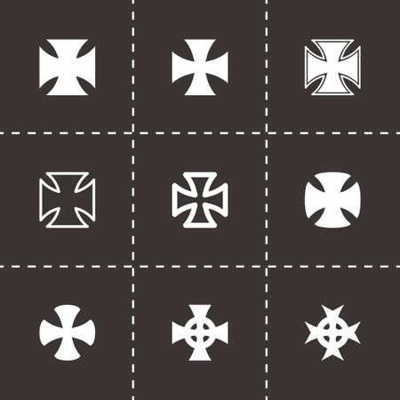 iron cross emblem: Vector choppers crosses icons set on black background