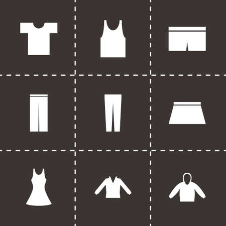 Vector black clothes eyes icons set on black background Vector