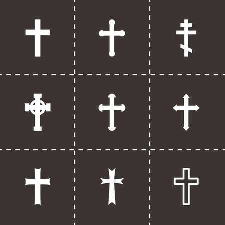 Vector crosses icons set on black background Vector