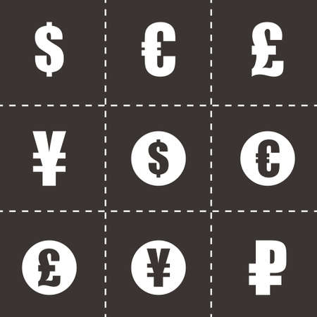 renminbi: Vector black currency symbols  icons set on black background Illustration