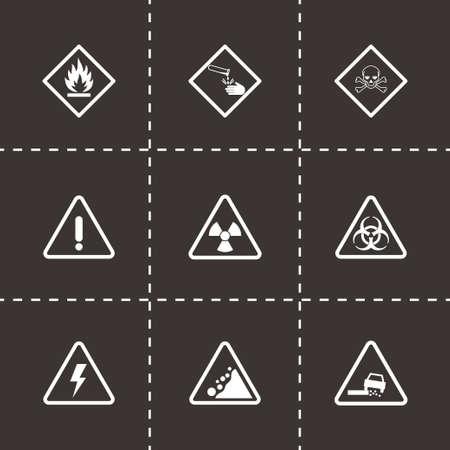 laser radiation: Vector danger icons set on black background Illustration