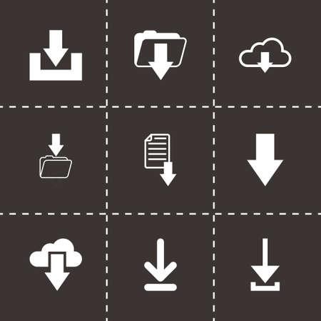 vector download: Vector download icons set on black background Illustration