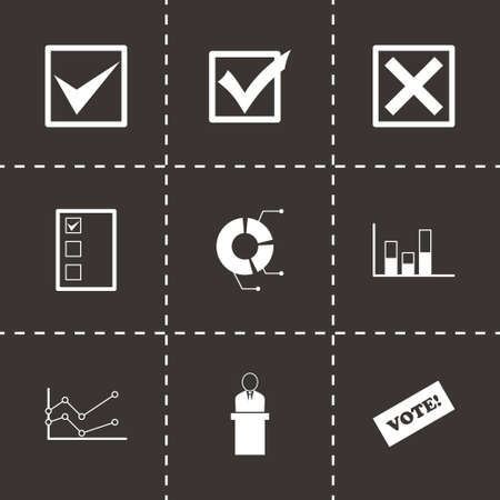 congress: Vector black election icon set on black background