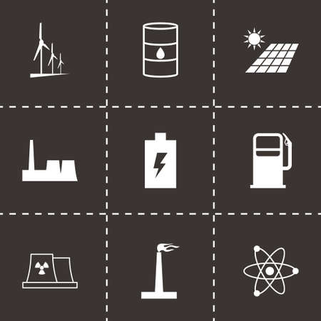 electrical engineer: Vector black energetics icons set on black background
