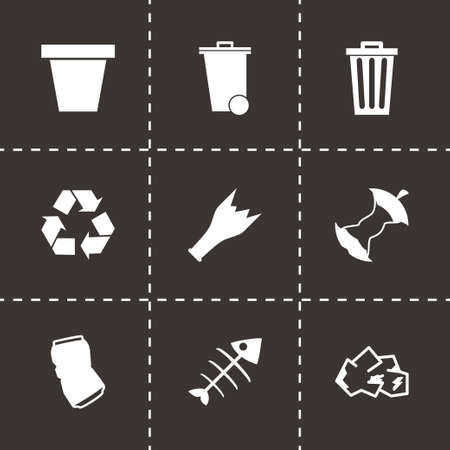 Vector black garbage icons set on black background