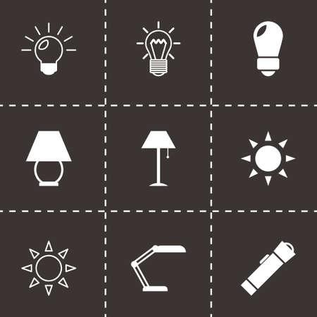 black light: Vector black light icons set on black background