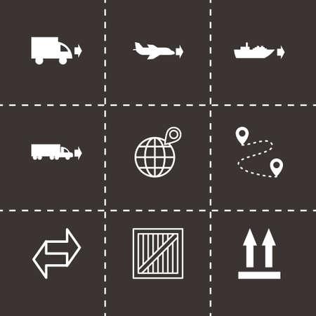 shipment tracking: Vector black logistic icons set on black background Illustration