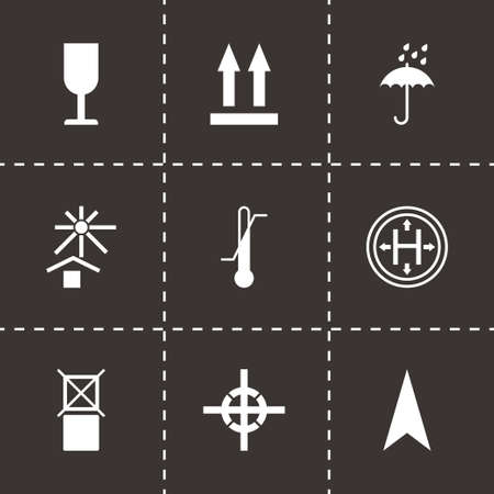 marking: Vector black marking of cargo icons set on black background
