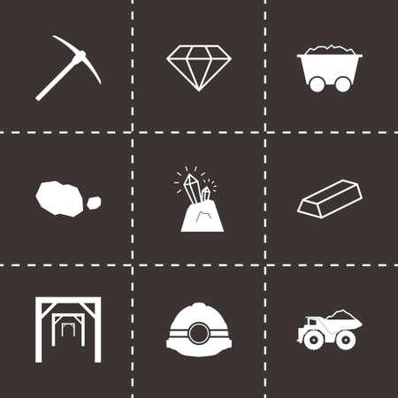 mining icons: Vector black mining icons set on black background