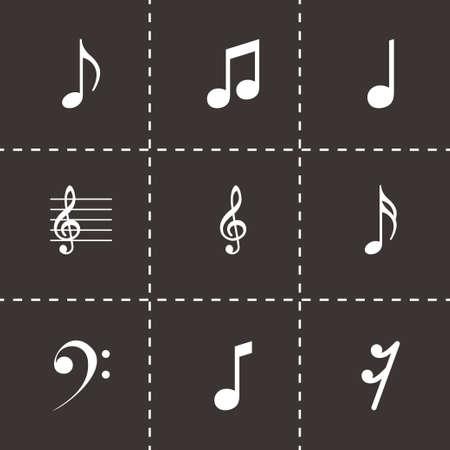 key signature: Vector black notes icons set on black background