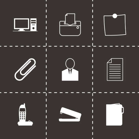 Vector black office icons set on black background Vector