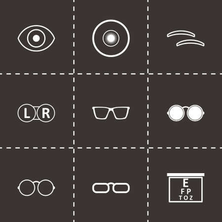 optometry: Vector black optometry icons set on black background Illustration