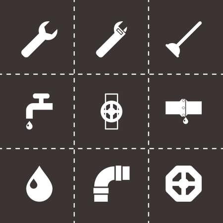 tube wrench: Vector black plumbing icons set on black background