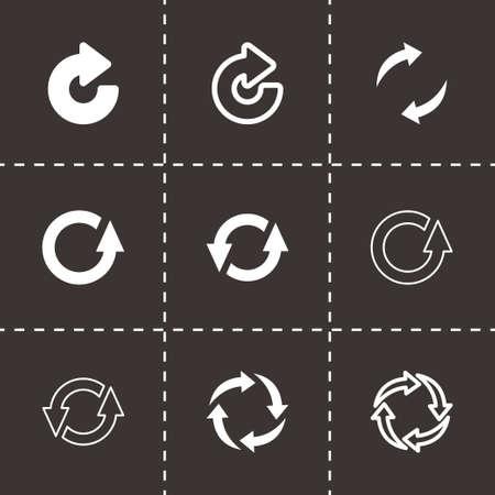 Vector black refresh icon set on black background Illustration