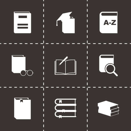 schoolbook: Vector black schoolbook icon set on black background Illustration