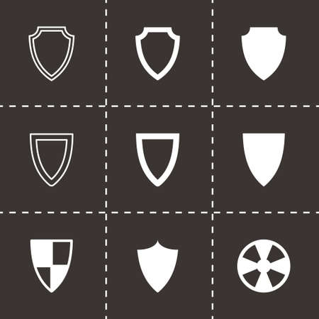 Vector shield icon set on black background Vector