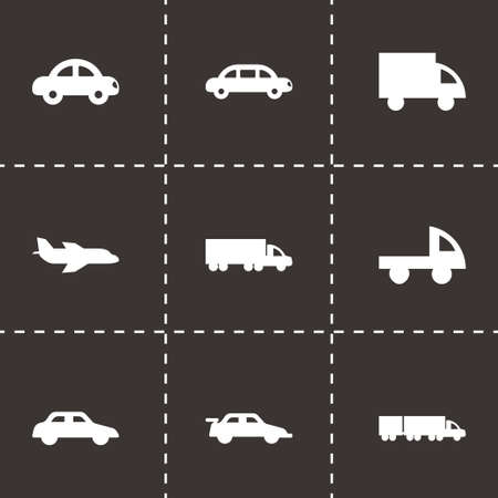 Vector black vehicles icons set on black background Vector