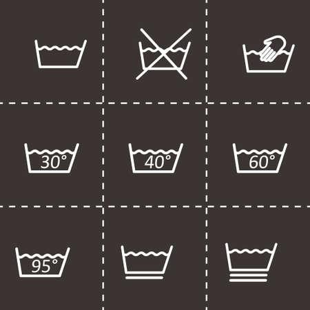 laundry care: Vector black washing signs icon set on black background