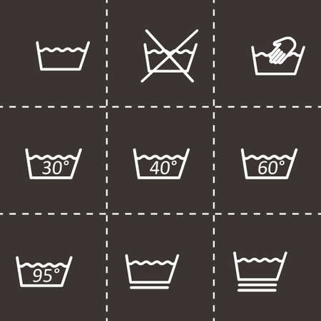 Vector zwart wassen tekenen icon set op een zwarte achtergrond