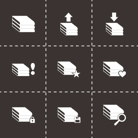 Vector archive icon set on black background Vector