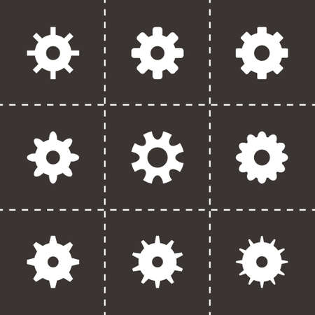 Vector gear icon set on black background Vector