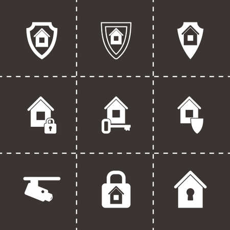 home security: Vector home security icon set on black background