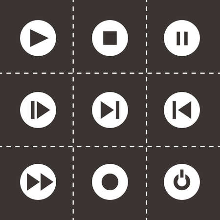 media buttons: Vector media buttons icon set on black background