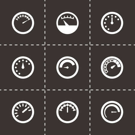 gas meter: Vector meter icon set on black background