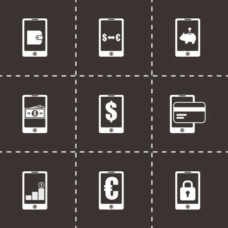 mobile banking: Vector mobile banking icon set on black background
