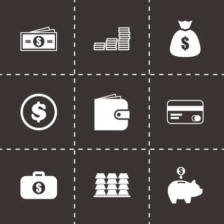 cell phone transmitter tower: Vector money icon set on black background