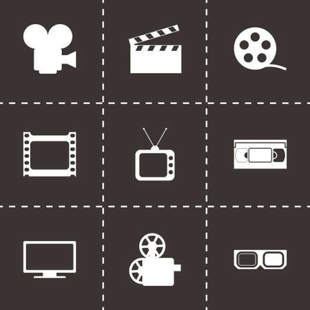 pg: Vector movie icon set on black background