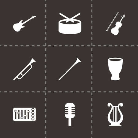 Vector music instruments icon set on black background Vector