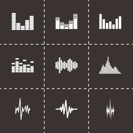 soundwave: Vector music soundwave icon set on black background