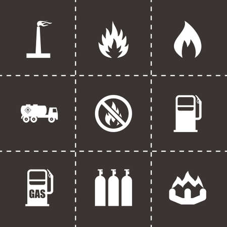 borehole: Vector natural gas icon set on black background Illustration