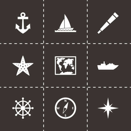 tanker type: Vector nautical icon set on black background Illustration