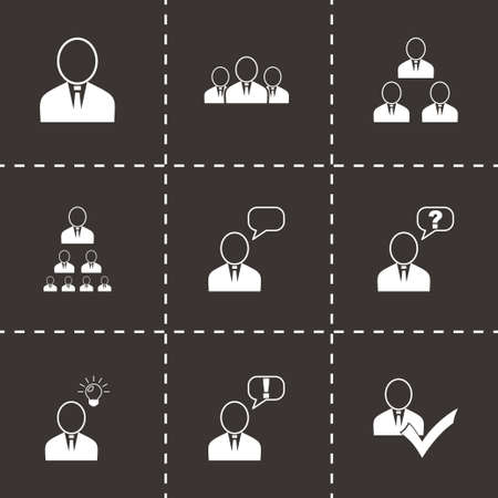 Vector office people icon set on black background Vector