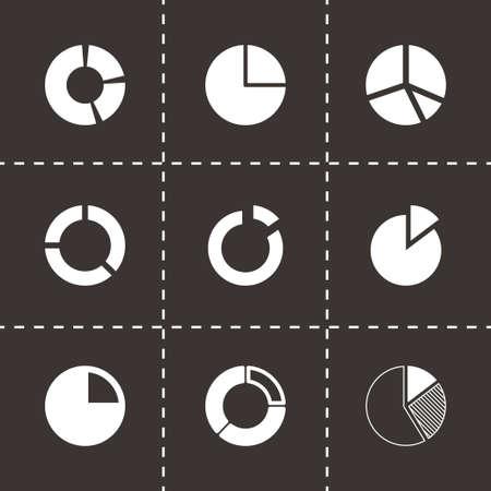 segmented: Vector pie chart icon set on black background Illustration