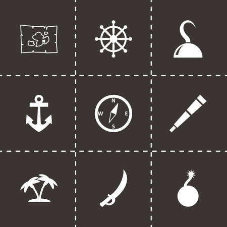 Vector pirate icon set on black background Vector