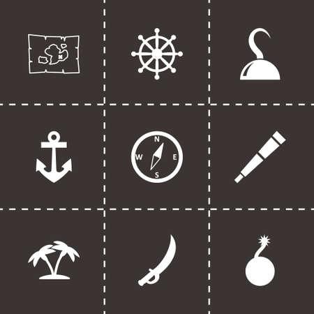 wheel barrel: Vector pirate icon set on black background
