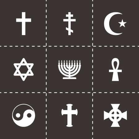 protestant: Vector religious symbols icon set on black background Illustration
