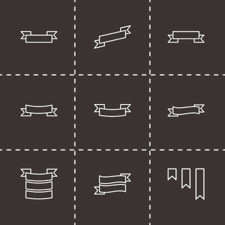 Vector ribbon icon set on black background Vector