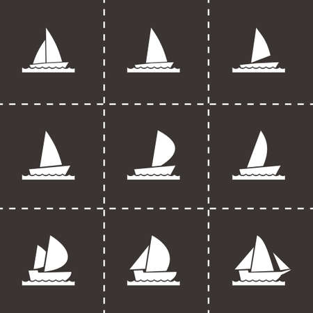 inflate boat: Vector sailboat icon set on black background